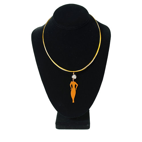 Sarah Pendant on Two-Tone Necklace