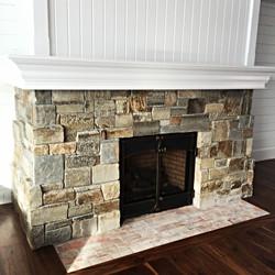 Kids area gas fireplace
