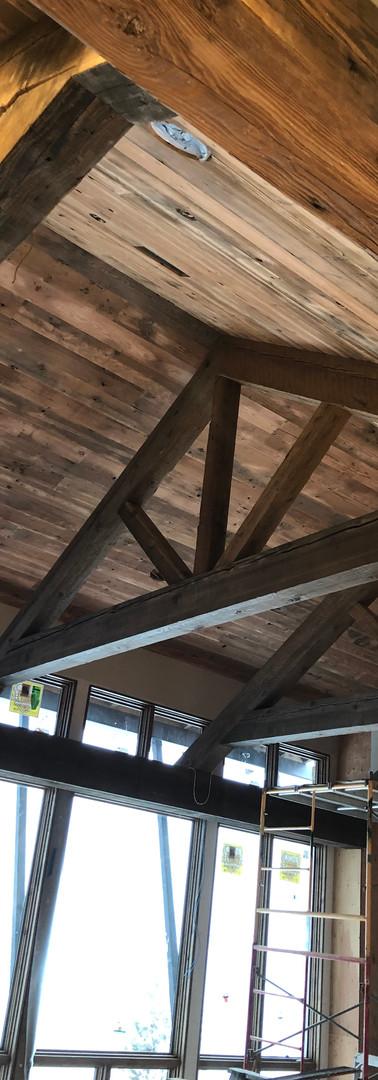 Great room reclaimed beams
