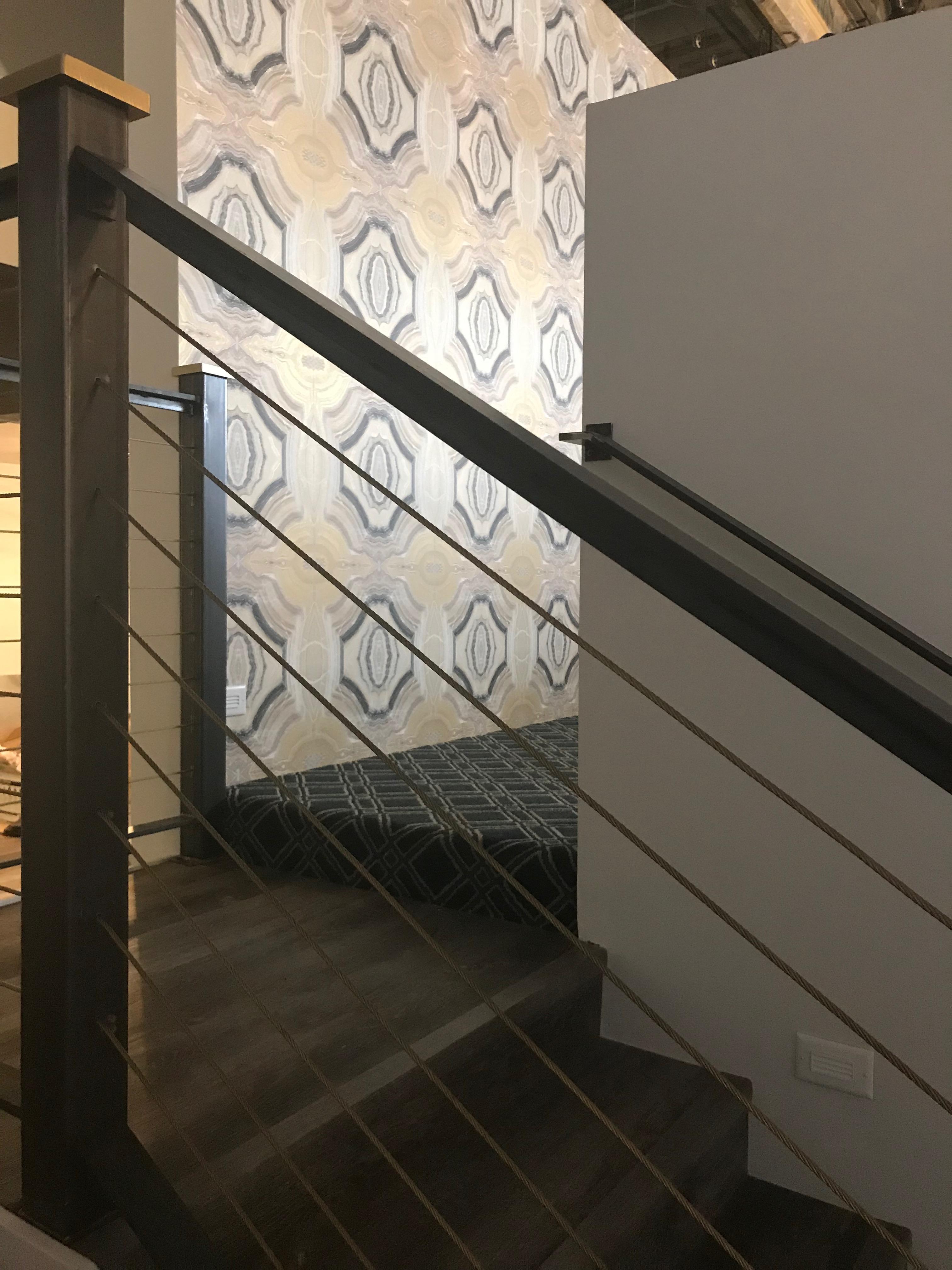 Third floor wallpaper/railing