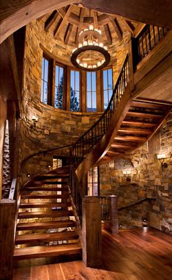 Winding beam staircase