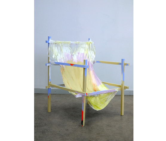 Chair (Untitled), 2020 Wood, fabric, string, acrylic and latex paint, 85x60x60cm