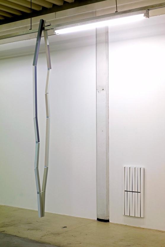 Three identical paintings in space, 2020 Oil on wood, hinges