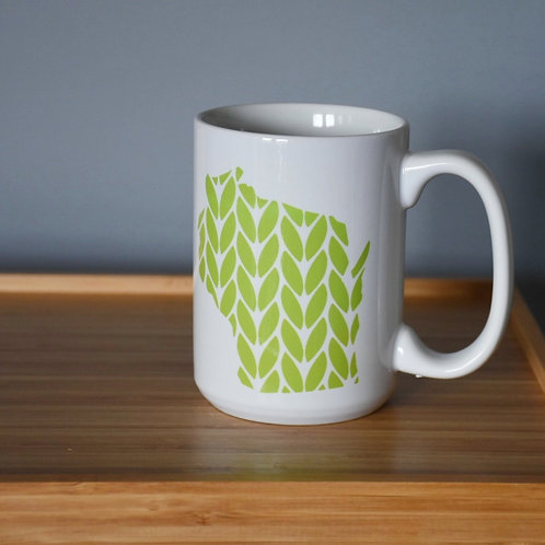 Wisconsin Knit Stitch Ceramic Mug 15 oz - lime