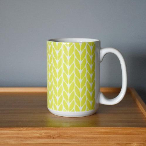 Knit Stitch Ceramic Mug 15 oz - chartruese