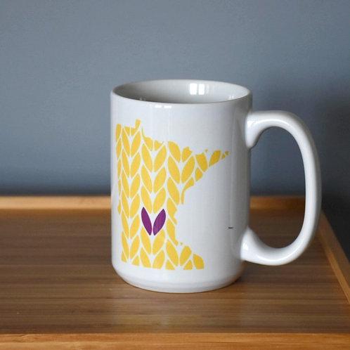 Minnesota Knit Stitch Ceramic Mug 15 oz - with heart
