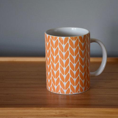 Knit Stitch Ceramic Mug 15 oz - orange