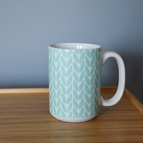 Knit Stitch Ceramic Mug 15 oz -mint