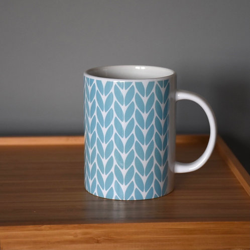 Knit Stitch Ceramic Mug 15 oz - sky blue