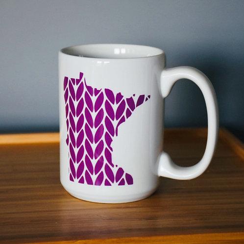 Minnesota Knit Stitch Ceramic Mug 15 oz - purple
