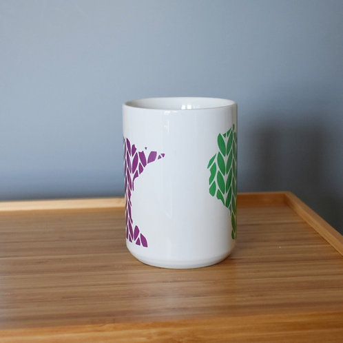 Minnesota/Wisconsin Knit Stitch Ceramic Mug 15 oz - purple/green