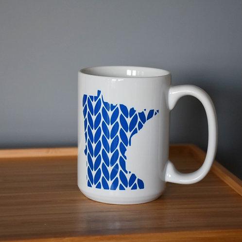 Minnesota Knit Stitch Ceramic Mug 15 oz - blue