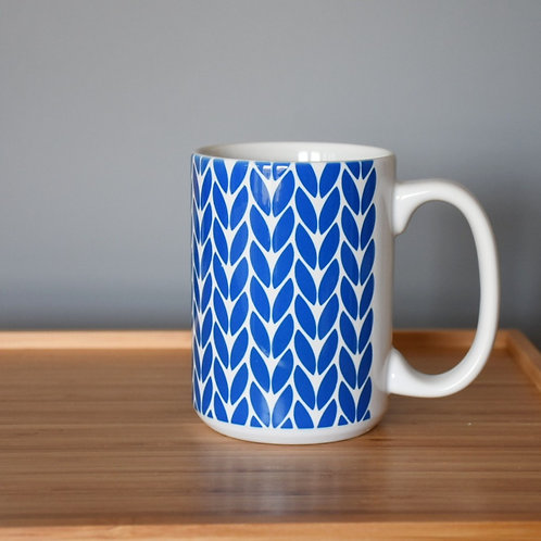 Knit Stitch Ceramic Mug 15 oz -blue