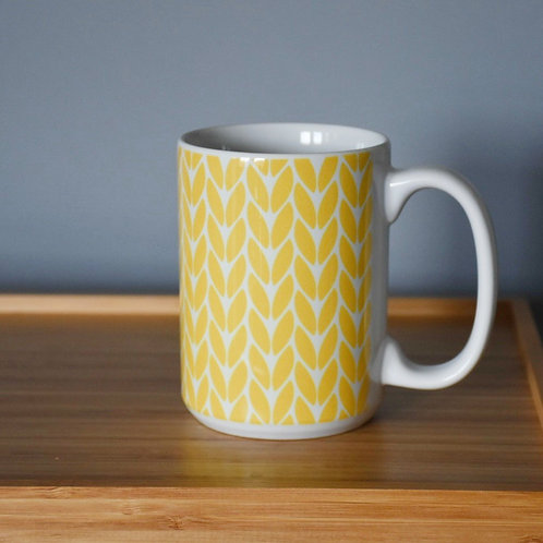 Knit Stitch Ceramic Mug 15 oz - yellow