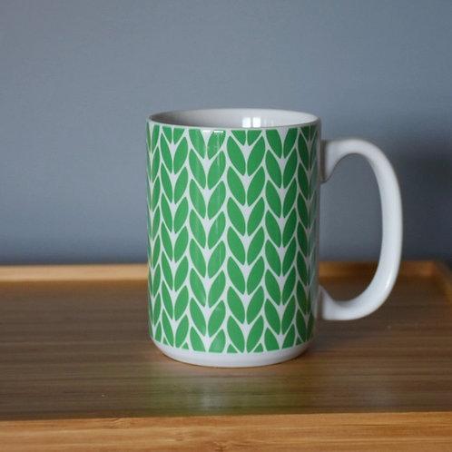 Knit Stitch Ceramic Mug 15 oz - green