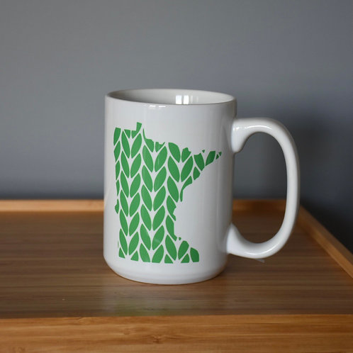 Minnesota Knit Stitch Ceramic Mug 15 oz - green