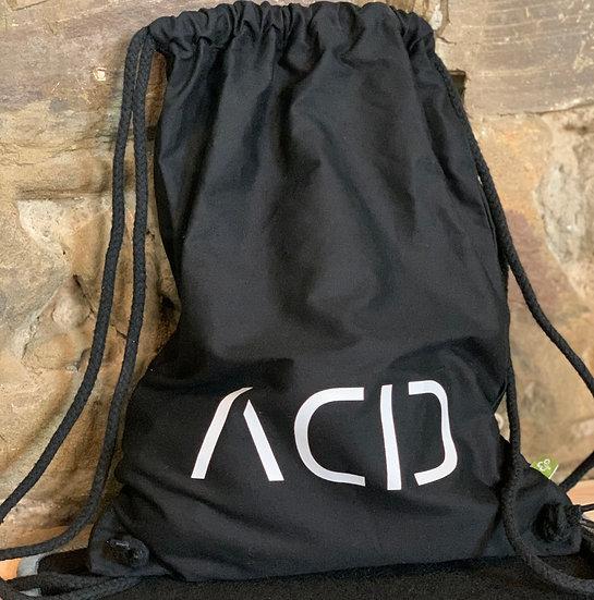 ACID Turnbeutel in schwarz mit weißem Schriftzug