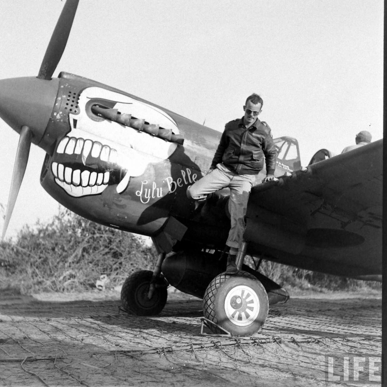 P-40N-5 Lulubelle w_Adair on wheel