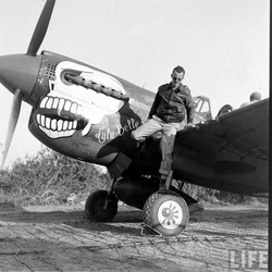 P-40N-5 Lulubelle w_Adair on wheel