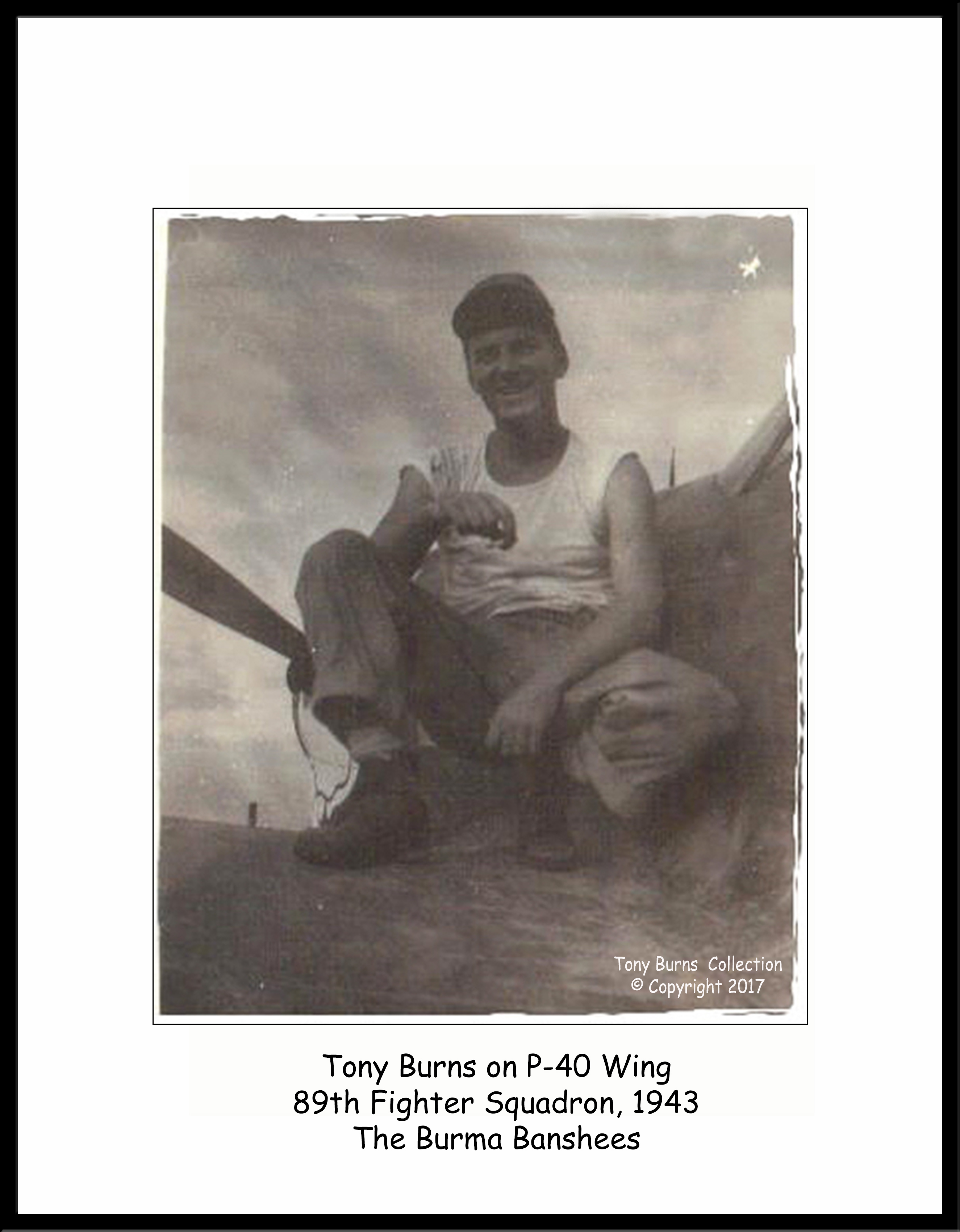 Tony Burns on P-40N wing
