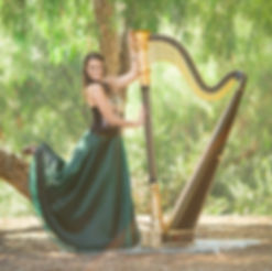 Personal Brand Photography San Diego Portrait of Woman with a harp