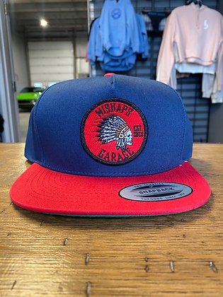 Mishaps Blue with Red Bill Snapback