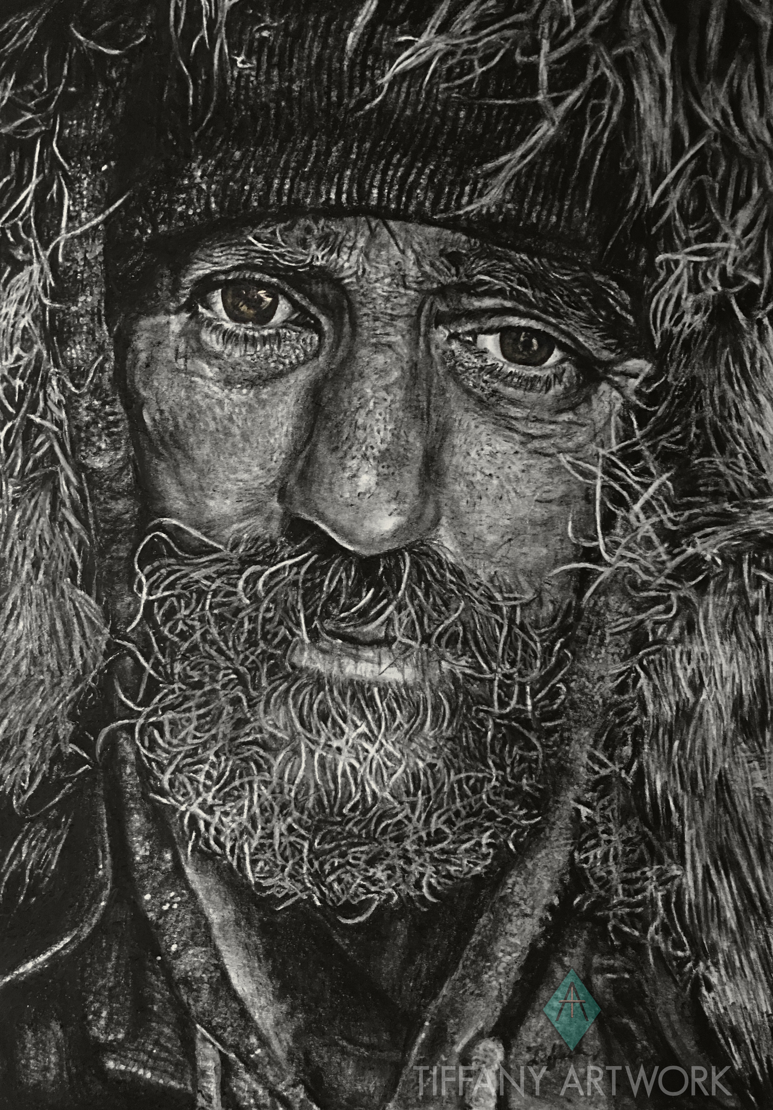 hyperrealistic charcoal portrait hand drawn of homeless man. beard and hood and light eyes
