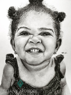 hyperrealistic charcoal portrait hand drawn little girl stinker face pretty cute toddler baby fever