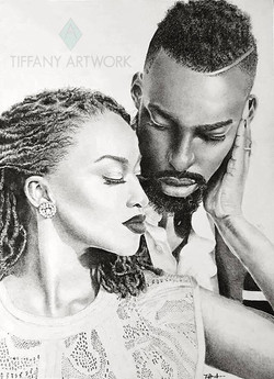 black love couple hyperrealistic charcoal portrait hand drawn dreads and beard engagement photo