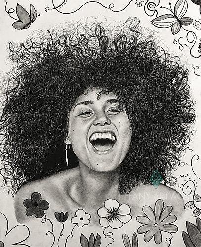 18x22 I Am Carefree Charcoal Portrait