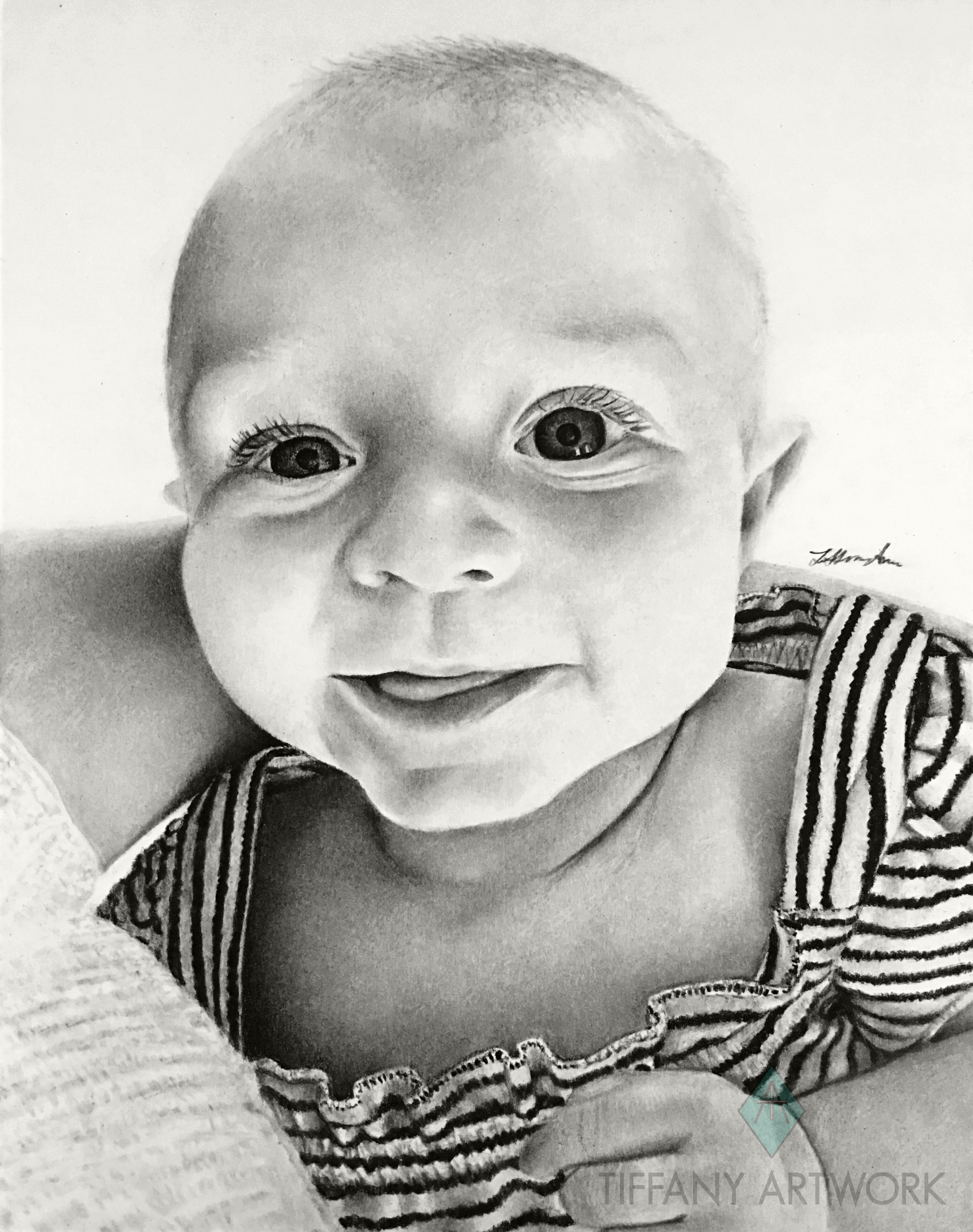 hyperrealistic charcoal portrait hand drawn cute baby in mothers arm