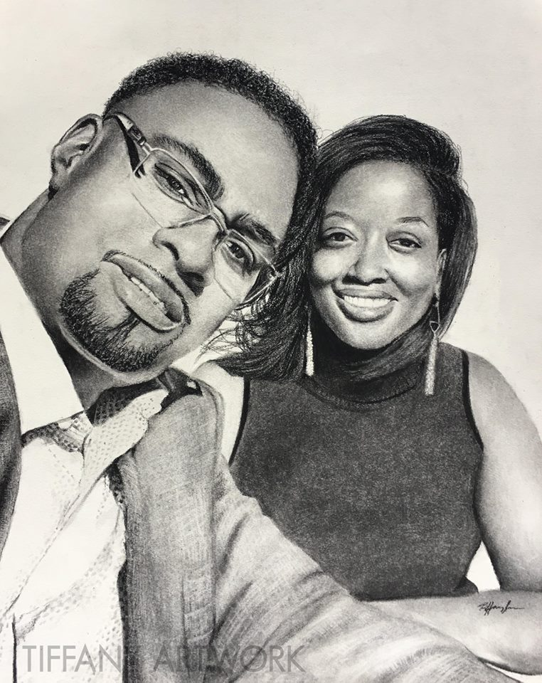 hyperrealistic charcoal portrait hand drawn black couple love from selfie