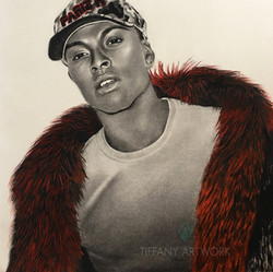 hyperrealistic charcoal portrait hand drawn of pariz in red feather coat b&w with accent