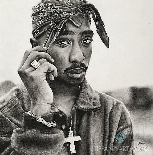 14x14 Tupac Shakur Charcoal Portrait