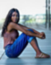 Artist and model Tiffany Anderson sitting for portrait shot