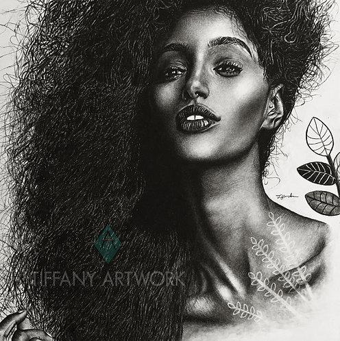 18x18 I Am Beautiful Charcoal Portrait (2018)