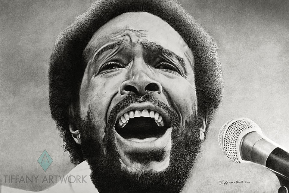 marvin gaye hyperrealistic charcoal portrait hand drawn whats goin on singing into mic