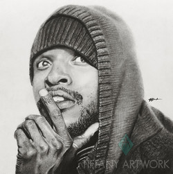 hyperrealistic charcoal portrait hand drawn hoodie and hat thinking pose