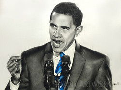 Hand drawn hyperrealistic portrait of barrack obama in charcoal pencil