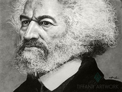 hyperrealistic portrait of frederick douglas drawn with charcoal pencil