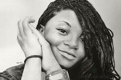 portrait of melanie with braids, hyperealistic pencil art