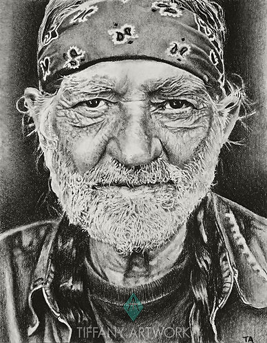11x14 Willie Nelson Charcoal Portrait (2016)