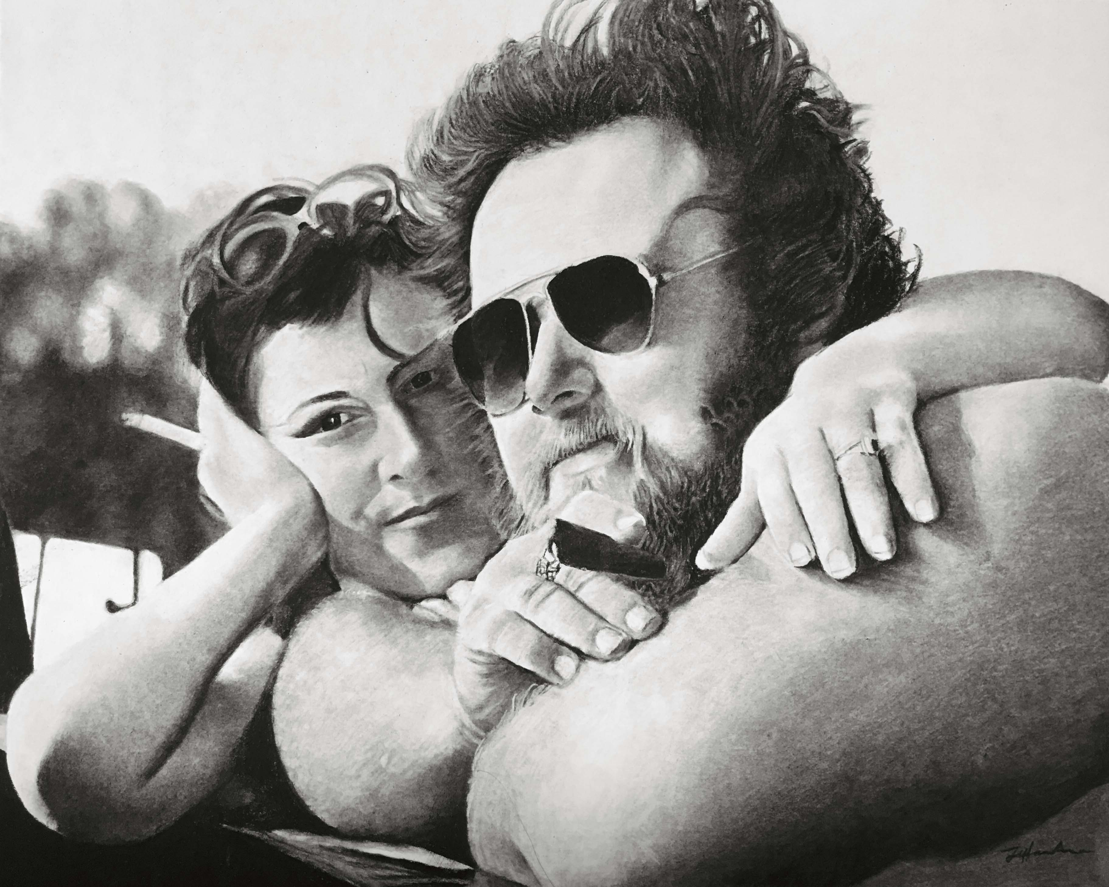 hyperrealistic charcoal portrait hand drawn couple the johnsons 70s style groovy cigar and shades