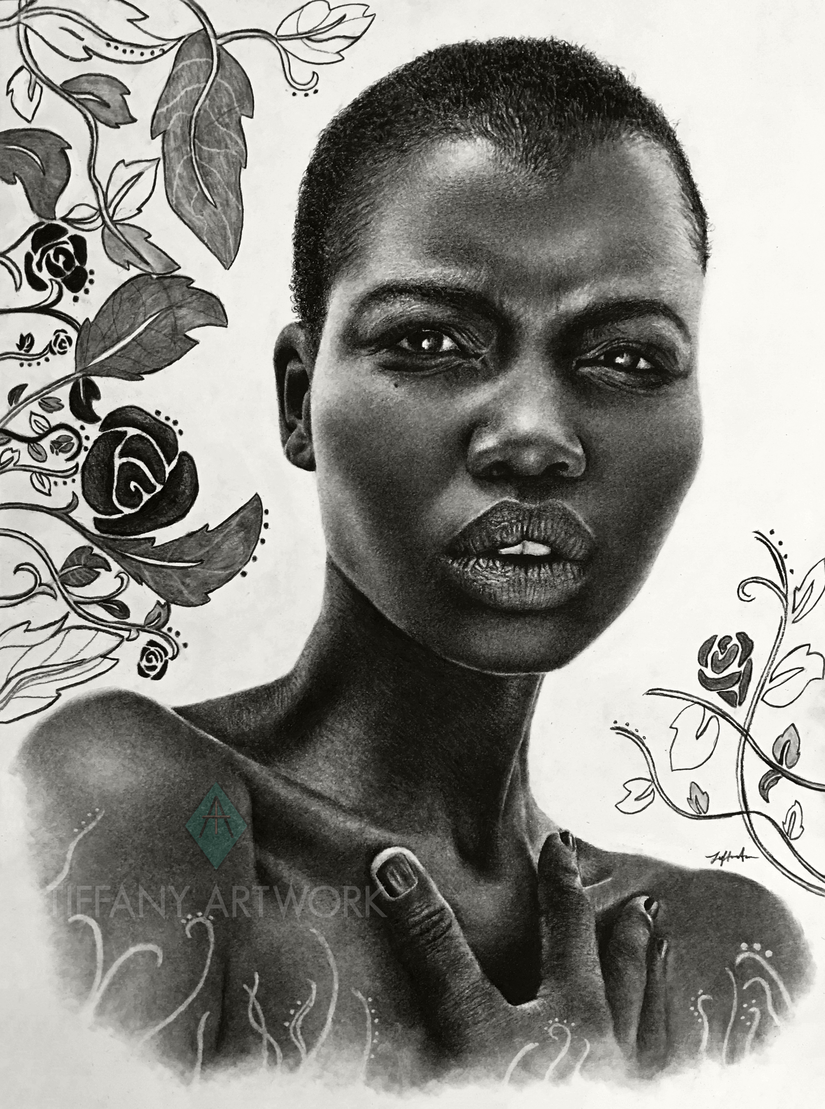 hyperrealistic charcoal portrait hand drawn of sudanese fashion model and activist nykhor paul