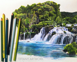 hyper realistic waterfall scene drawn with colored pencil