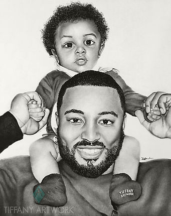 Hand drawn portrait of father and son, family art in charcoal pencil