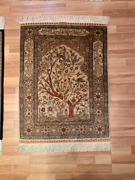 "3 HEREKE SILK 35""by67""((59) 12 li ipek G"
