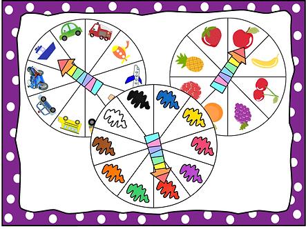 Roues vocabulaire couleurs fruits transports