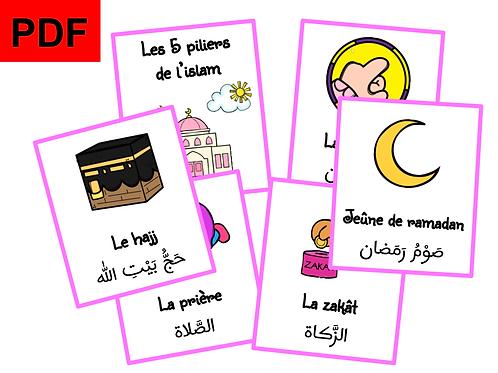 Cartes les 5 piliers de l'islam (fille)
