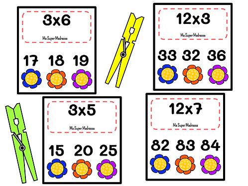 Cartes à pinces multiplications
